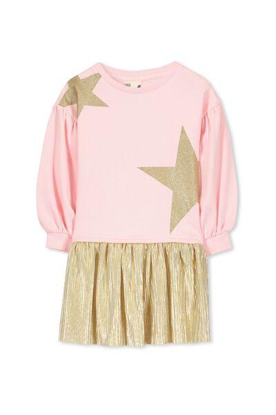 Aspen Dress, CRYSTAL ROSE STARS/GOLD
