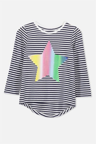 Penelope Long Sleeve Curved Hem, PEACOAT STRIPE/RAINBOW STAR