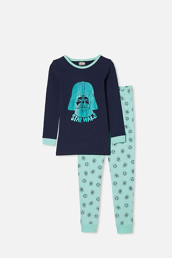 Orlando Long Sleeve Pyjama Set, LCN DIS MINT BREEZE/STAR WARS