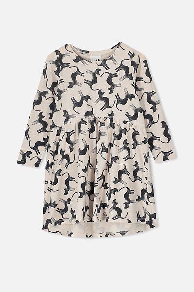 Freya Long Sleeve Dress, BLUSH MARLE/CATS