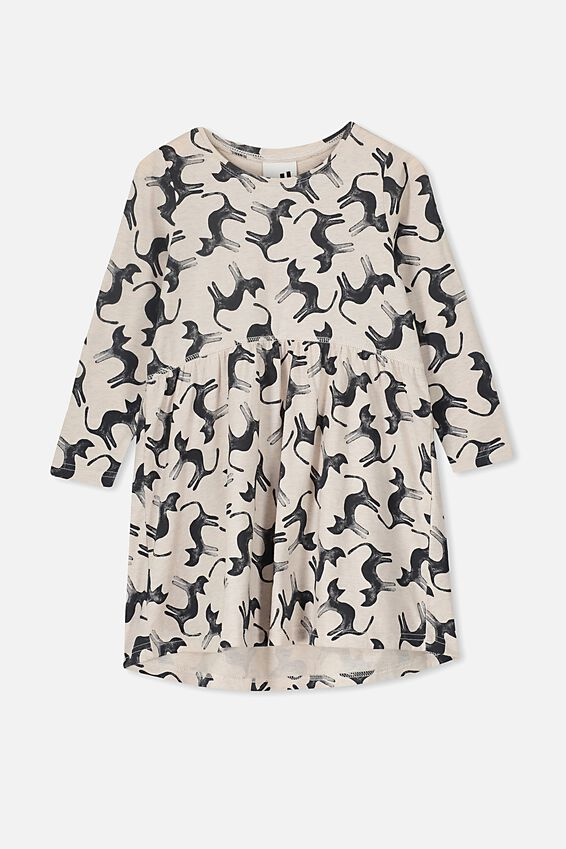 Freya Long Sleeve Dress, BLUSH MARLE/CATS