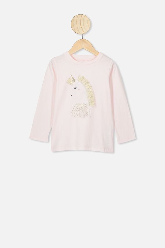 Stevie Ls Embellished Tee, CRYSTAL PINK/UNICORN PRINCESS