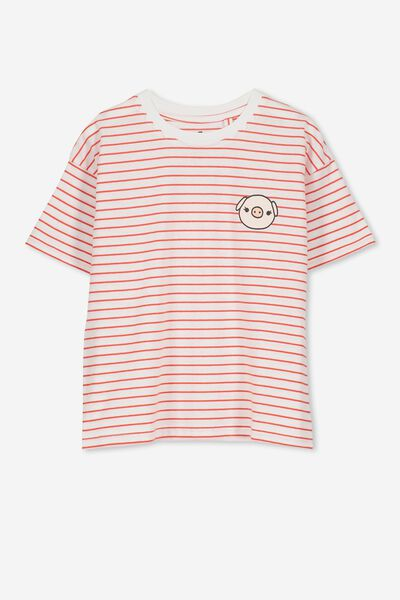 Penelope Ss Loose Fit Tee, ENGINE RED STRIPE/PIG