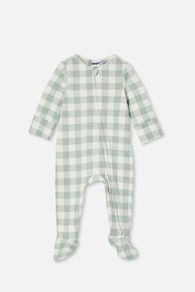 The Long Sleeve Zip Romper, SILVER SAGE/VANILLA MAXI GINGHAM