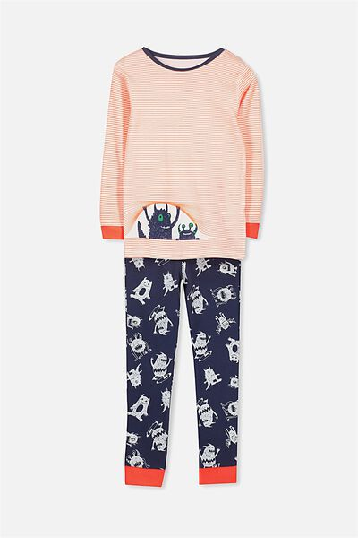 Harry Long Sleeve Boys PJ Set, PEEKING MONSTER