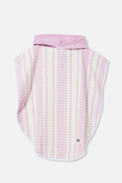 Kids Waffle Hooded Towel, PALE VIOLET STRIPE