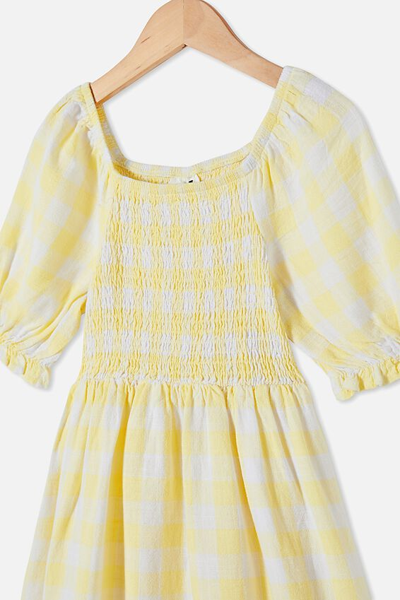 Lillie Short Sleeve Dress, LEMON DROP GINGHAM