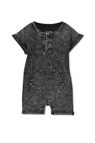 Mini Short Slv Snap Romper, WASHED BLACK