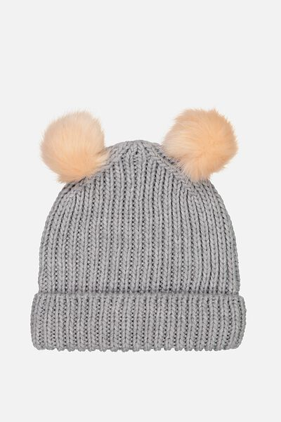 Winter Knit Beanie, GREY FAUXFUR POM POM