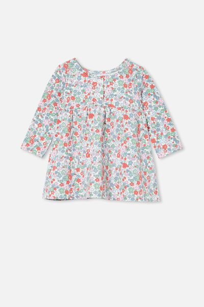 Molly Long Sleeve Dress, VANILLA/CALI PINK GARDEN FLORAL