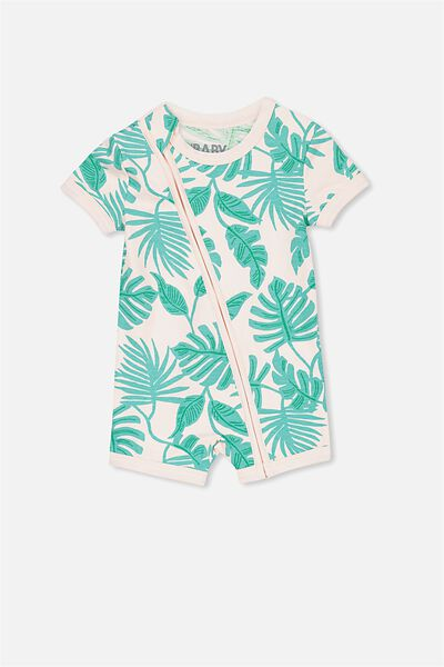 Mini Ss Zip Through Romper, SHELL PEACH/TROPICAL PALM