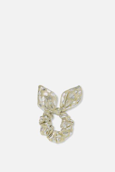 Bow Scrunchie, GOLD/SILVER FOIL