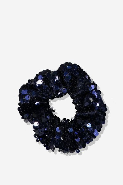 Bow Scrunchie, NAVY/SEQUIN