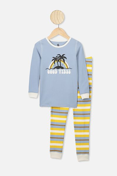 Harrison Long Sleeve Boys Pyjamas, RAIN CLOUD/GOOD VIBES