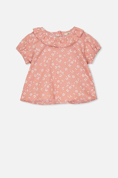 Holly Short Sleeve Top, CAMEO BROWN/EMMA FLORAL
