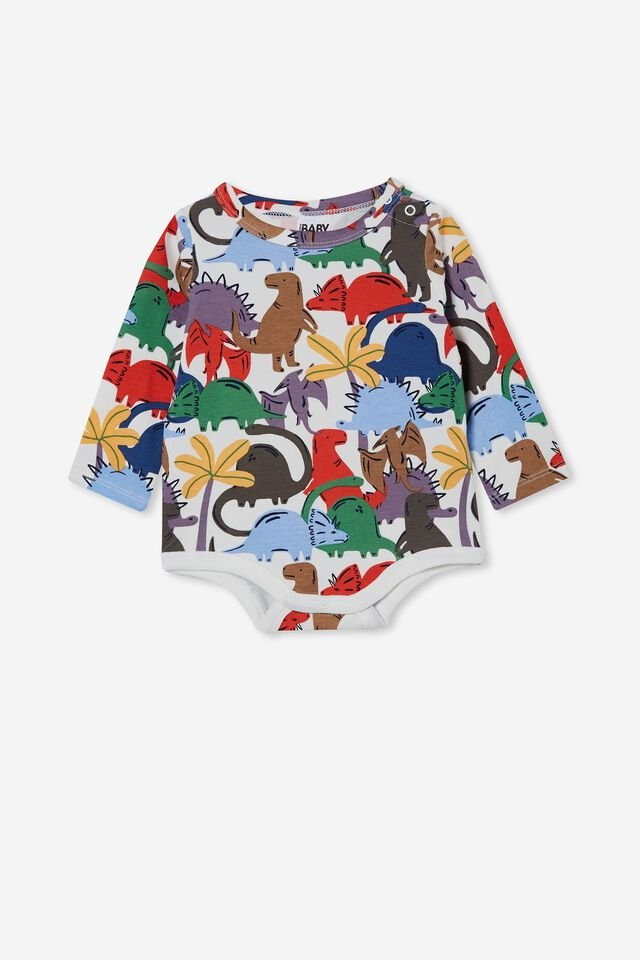 The Long Sleeve Bubbysuit, TAUPY BROWN/DINO DANCE