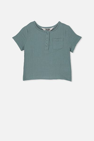 Tate Short Sleeve Shirt, DEEP POOL BLUE