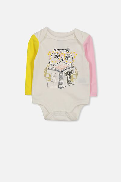 Mini Long Sleeve Bubby, VANILLA/READ TO ME OWL