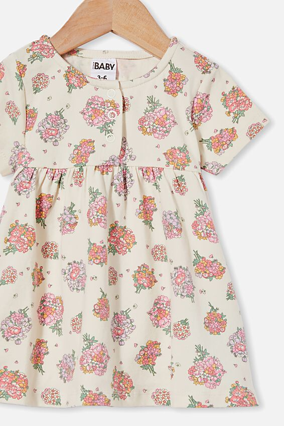 Milly Short Sleeve Dress, DARK VANILLA/RETRO CORAL PETUNIA FLORAL