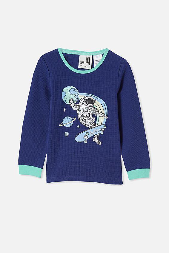 Noah Long Sleeve Pyjama Set, ASTRONAUT TIE DYE/INDIGO