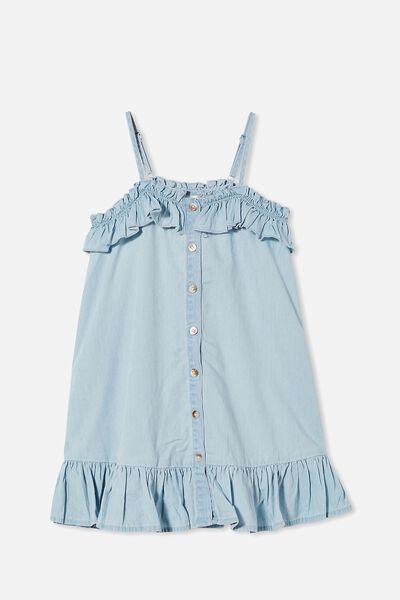 Libby Sleeveless Dress, LIGHT BLUE WASH