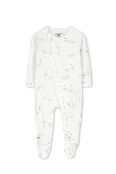 Mini Zip Through Romper, VANILLA/LEAPING UNICORNS