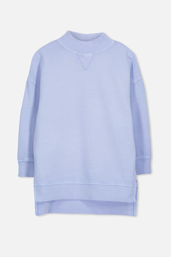 Olivia Oversize High Neck Fleece Top, HEATHER BLUE