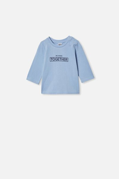 Jamie Long Sleeve Tee, POWDER PUFF BLUE/WE STAND TOGETHER