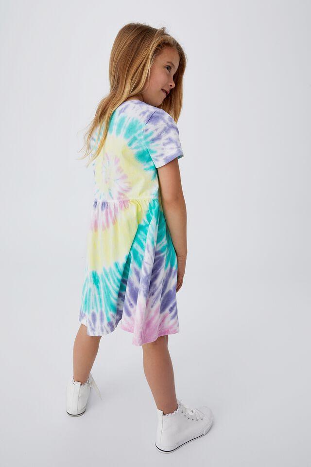 Freya Short Sleeve Dress, PASTEL SPIRAL RAINBOW TIE DYE