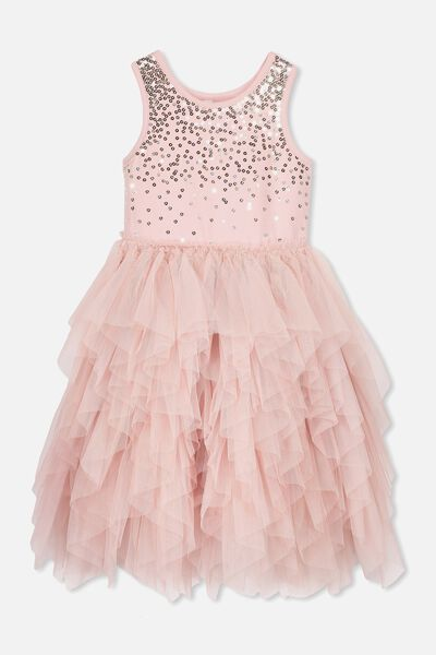 Iris Tulle Dress, DUSTY PINK/GOLD + SILVER