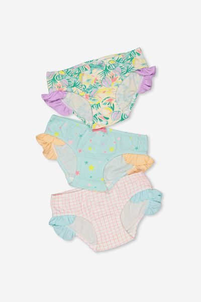 Girls Ruffle Undie Pack, TROPICAL MIX
