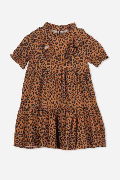 Laura Short Sleeve Dress, AMBER BROWN/LEOPARD