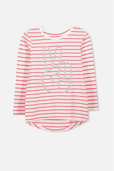 Penelope Long Sleeve Curved Hem, VANILLA STRIPE/GLITTER PEACE