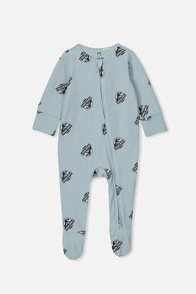The Long Sleeve Zip Romper, LCN UNI STORMY SEA/JURASSIC PARK