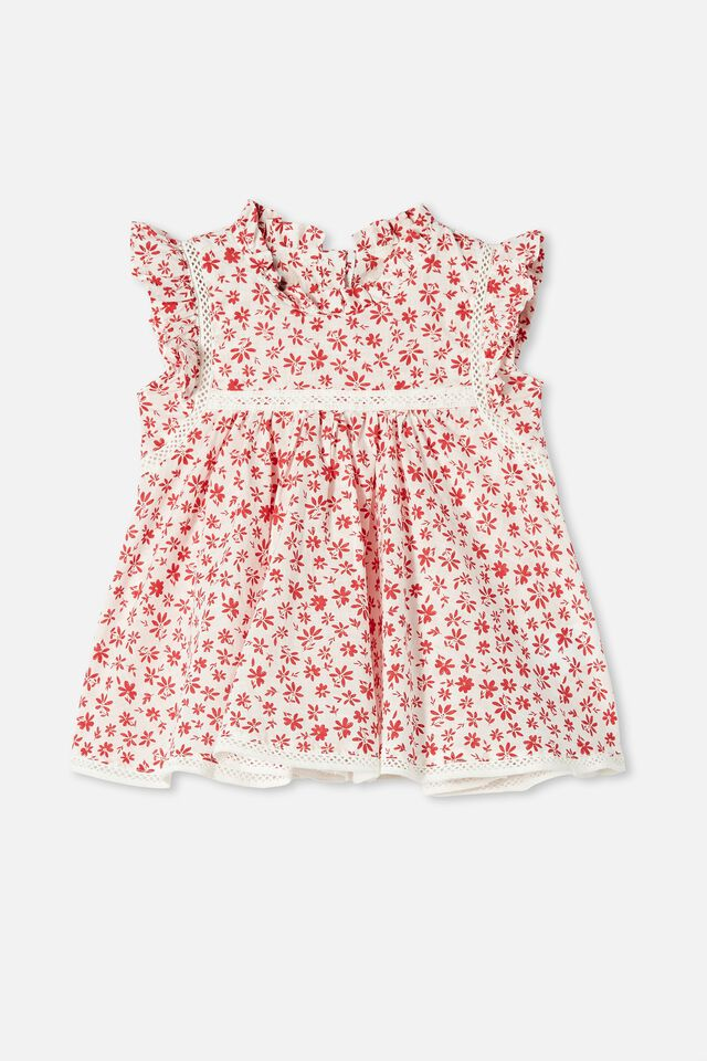 Tess Flutter Sleeve Dress, VANILLA/LUCKY RED TAYLOR FLORAL