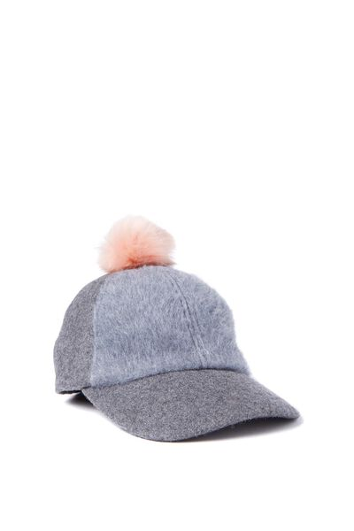 Kate Pom Pom Cap, GREY/SEA PINK