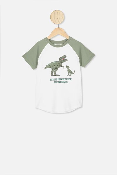Max Short Sleeve Raglan Tee, WHITE/SILVER SAGE/DONT MESS WITH MY MUMMA