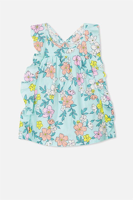 Jayde Dress, AQUA TINT/FLOWERS