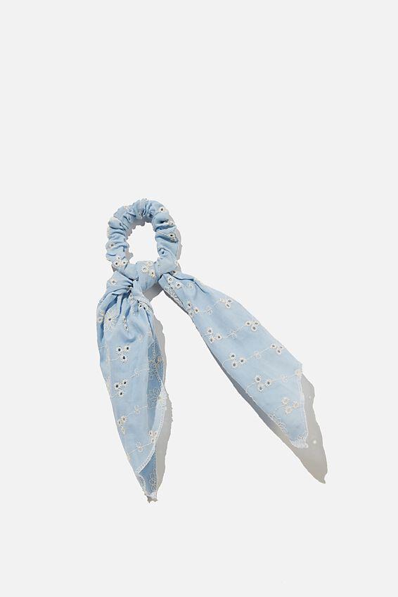 Scarf Scrunchie - Broderie, DUSK BLUE BRODERIE