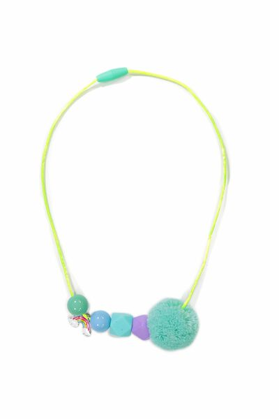 Beaded Pom Pom Necklace, BLUE RAINBOW