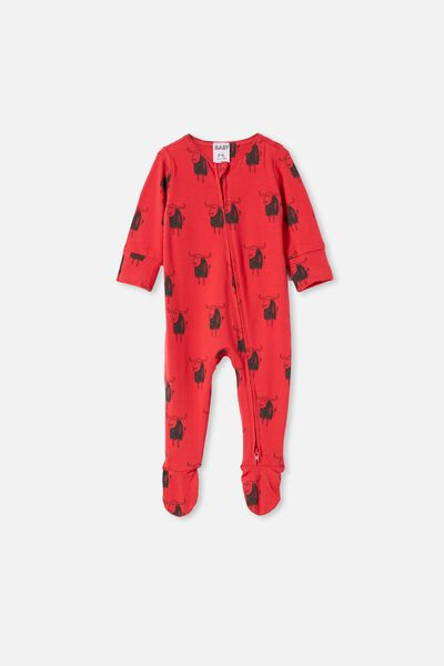 The Long Sleeve Zip Romper, LUCKY RED/LUCKY OX