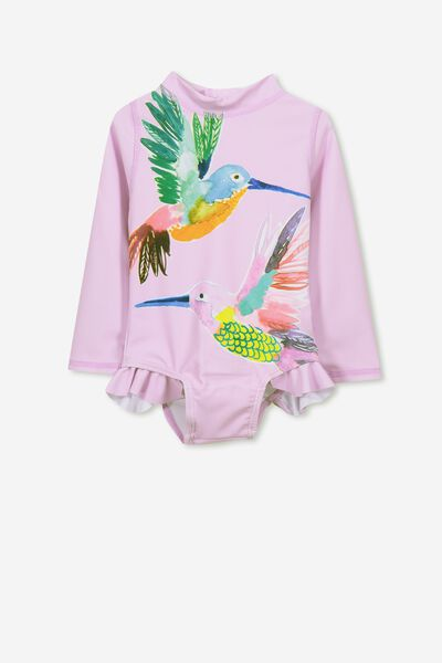 Malia Long Sleeve One Piece Swimsuit, UNICORN DREAM/TROPICAL BIRDS