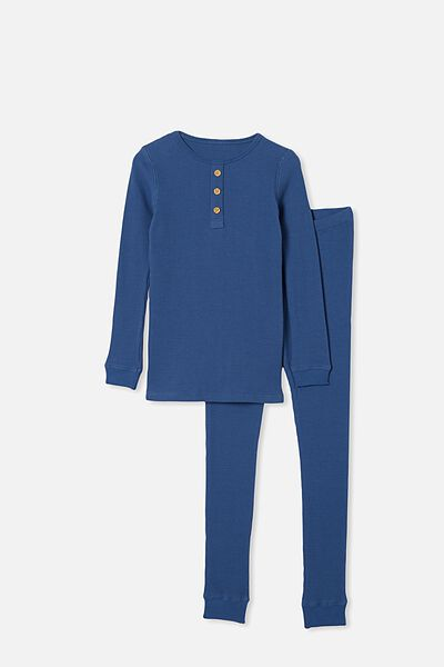 Ryan Waffle Long Sleeve Pyjama Set, PETTY BLUE