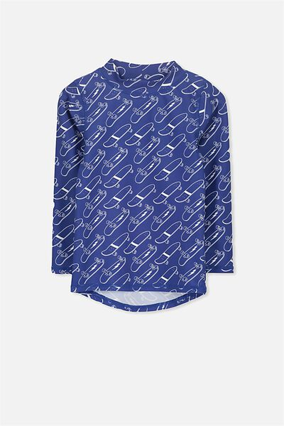 Fraser Long Sleeve Rash Vest, INK BLUE/SKATEBOARDS