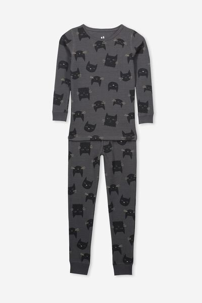 Jessie Long Sleeve Waffle Pajama Set, BLACK CATS/BLACK