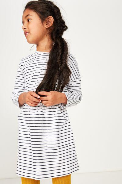 Mara Long Sleeve Dress, WHITE/PEACOAT STRIPE