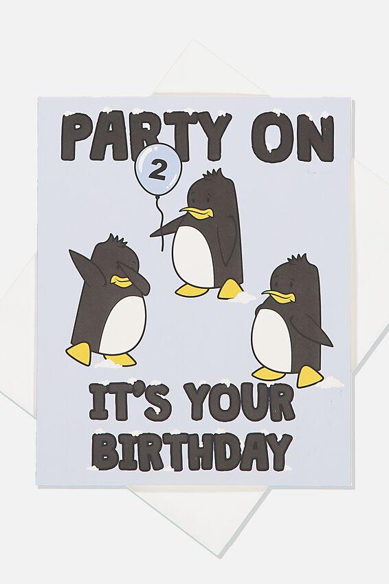Alex Birthday Card, 2ND BIRTHDAY PENGUIN