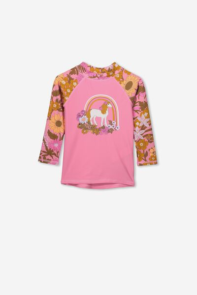 Hamilton Long Sleeve Rash Vest, RAINBOW UNICORN PLACEMENT
