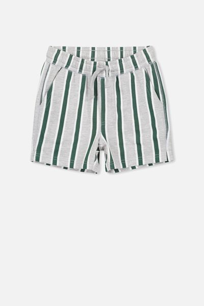 Henry Slouch Short, LIGHT GREY MARLE/VERTICAL STRIPE