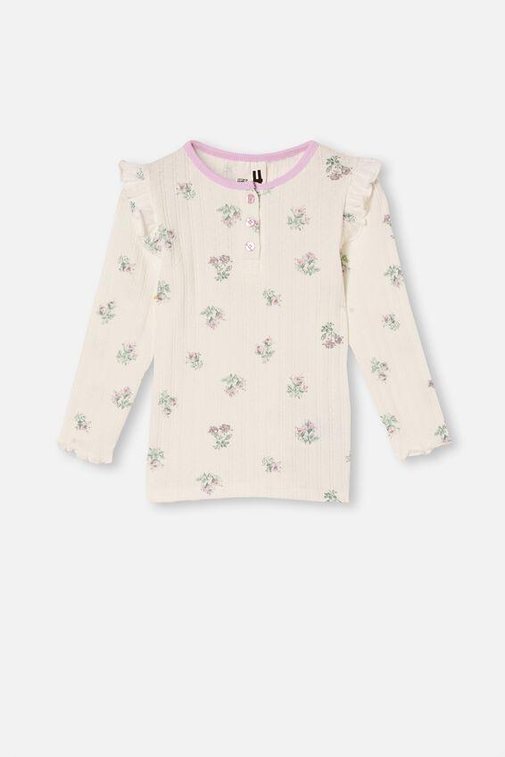 Layla Long Sleeve Pyjama Set, FLORAL VANILLA